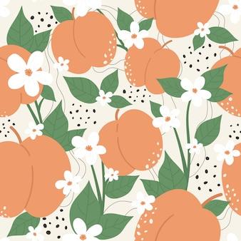 Pfirsich- oder aprikosenfrucht mit blumen nahtloses musterentwurfsset pfirsichfarbene trendige botanikbeschaffenheit des sommers