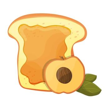 Pfirsich- oder aprikosenmarmelade-frühstückstoast, vektorillustration der morgenmahlzeit - lebensmittelikone