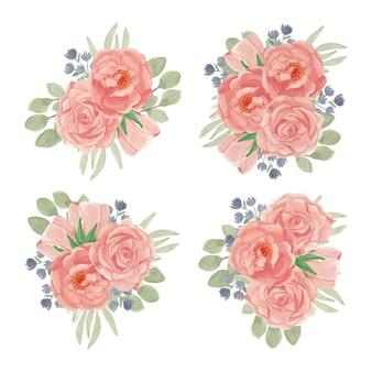Pfirsich-rosenblumenstrauß-sammlung im aquarellstil