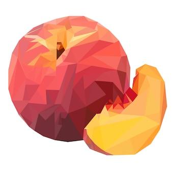 Pfirsichfrucht im low poly stil