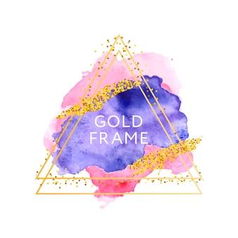 Pfirsichrosa violetter aquarellfleck und goldener rahmen