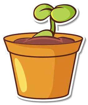 Pflanze in einem topf sticker auf weißem hintergrund