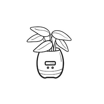 Pflanze wächst in einem intelligenten blumentopf mit handgezeichnetem umriss-doodle-symbol des sensors. smart home blumentopfkonzept