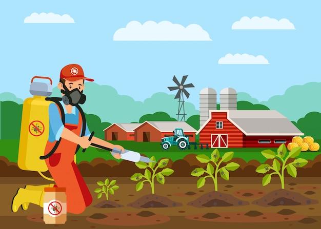 Pflanzen-insektizid-einspritzungs-vektor-illustration
