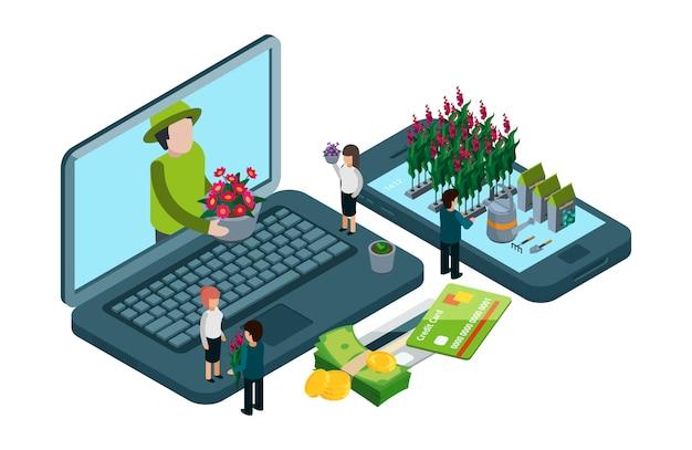 Pflanzen und blumen online-shop. isometrisches floristisches konzept
