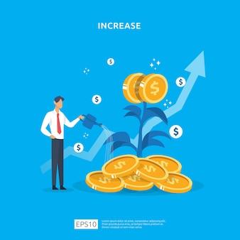 Pflanzengeld-münzbaumwachstumsillustration für investitionskonzept. konzept zur erhöhung der einkommenslohnrate mit personencharakter und dollarsymbol. geschäftsgewinnentwicklung des return on investment roi