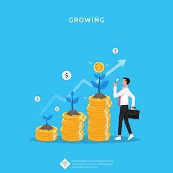 Pflanzengeldmünzenwachstumsillustration für investitionskonzept. geschäftsgewinnentwicklung der kapitalrendite