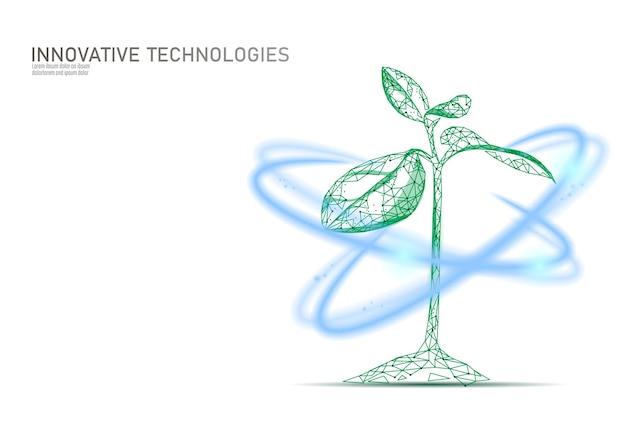Pflanzenkeim glühender effekt. low poly 3d polygonale ökologische schönheit