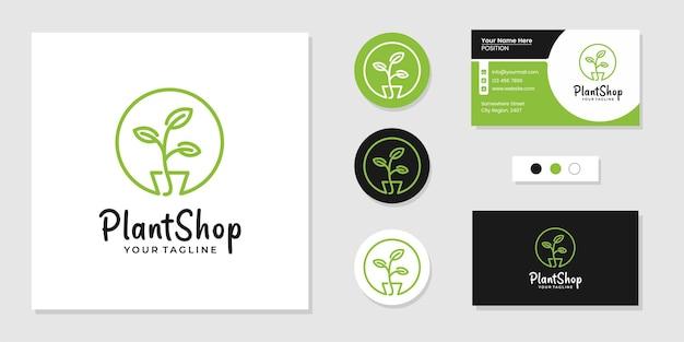 Pflanzenladen-logo-symbol und inspiration für visitenkarten-designvorlagen