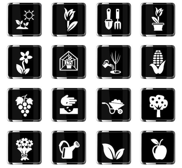 Pflanzenmesswerkzeuge websymbole für das design der benutzeroberfläche