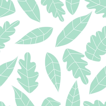 Pflanzenmuster nahtloses muster mit palmblättern und zweigen lager vektor tropische illustration