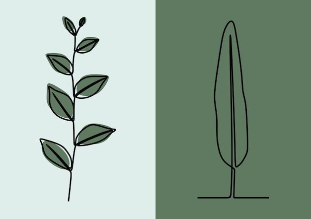 Pflanzennatur einzeilig durchgehende linie kunst premium-vektor-set