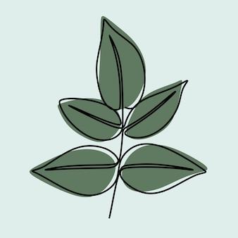 Pflanzennatur einzeilig durchgehende linie kunst premium-vektor