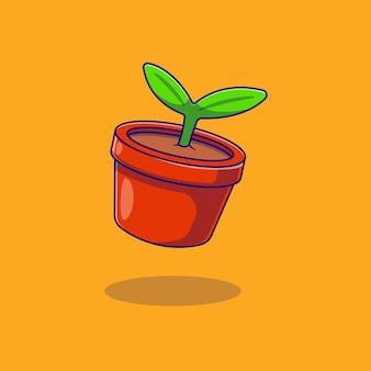 Pflanzensamen-vektor-illustration-design im topf
