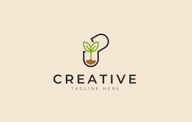 Pflanzensamenkapsel naturmedizin logo design icon vorlage