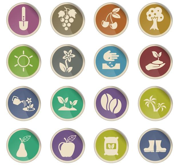 Pflanzenvektorsymbole in form von runden papieretiketten