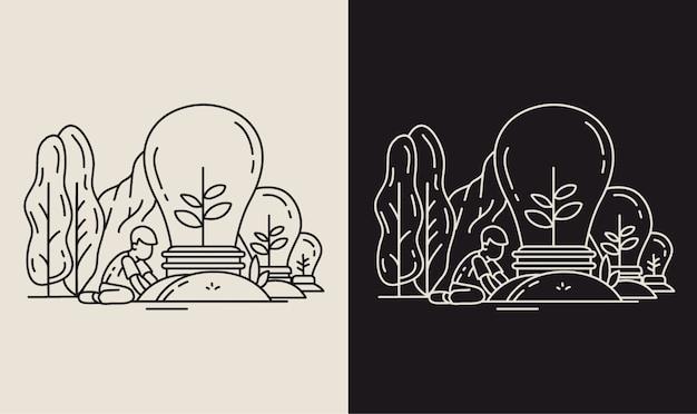 Pflanzideen in der natur monoline illustration