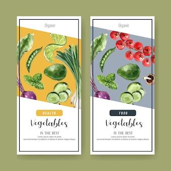 Pflanzliche aquarellfarbe sammlung. gesunde illustration des organischen menüs des neuen lebensmittels
