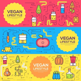 Pflanzliche elemente gesetzt. ikone essen auf dem tisch. öko vegane qualität trendiges abendessen, mittagessen, snack