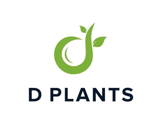 Pflanzt baum mit blättern und buchstaben d einfaches schlankes kreatives geometrisches modernes logodesign