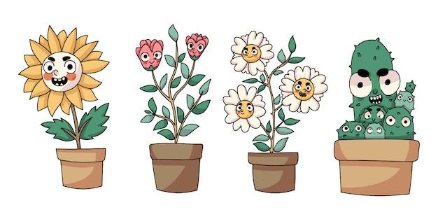 Pflanzt nette karikatur lokalisierte zeichnung