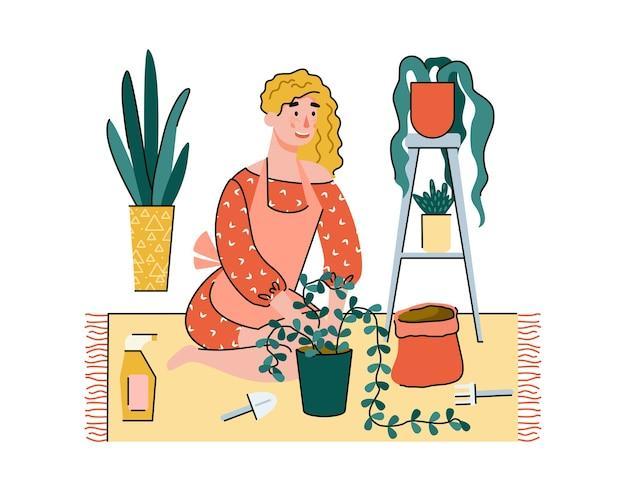 Pflanzung in innenräumen und häusliche aktivitäten der menschen