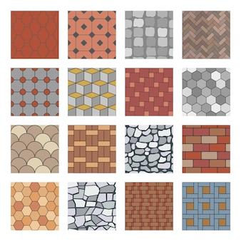 Pflastersteinmuster. ziegelsteinfertigergehweg, felsensteinplatte und nahtlose muster des straßenpflasterungsbodenblocks eingestellt