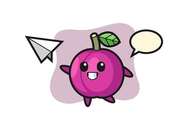 Pflaumenfrucht-cartoon-figur, die papierflugzeug wirft, niedliches design für t-shirt, aufkleber, logo-element