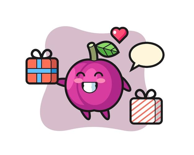 Pflaumenfrucht-maskottchen-karikatur, die das geschenk gibt, niedliches design für t-shirt, aufkleber, logo-element