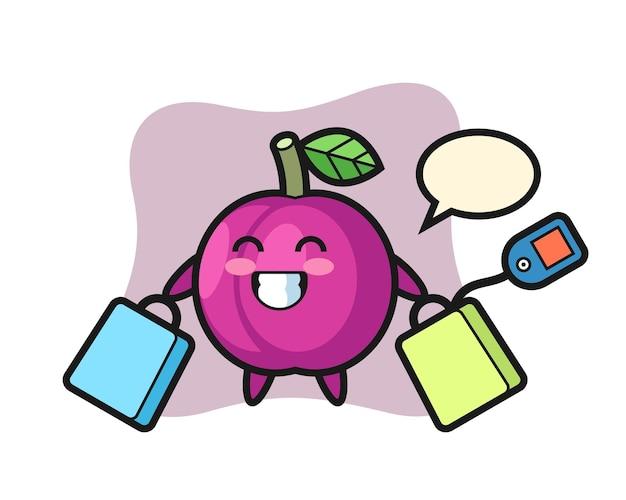 Pflaumenfrucht-maskottchen-karikatur, die eine einkaufstasche hält, niedliches design für t-shirt, aufkleber, logo-element