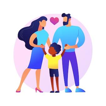 Pflege abstrakte konzeptillustration der adoptiveltern. pflege, vater in adoption, glückliche interrassische familie, spaß haben, zusammen zu hause, kinderloses paar