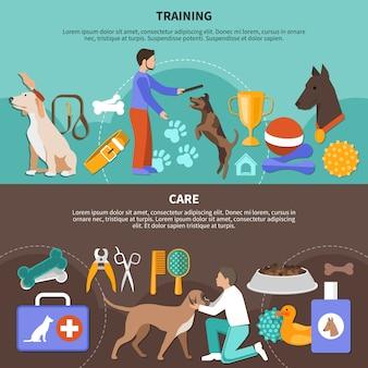 Pflege für hunde-banner-auflistung
