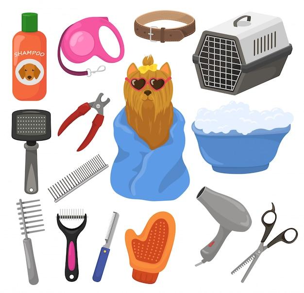 Pflege haustier hund zubehör oder tiere werkzeuge bürste haartrockner in groomer salon illustration satz welpen hündchen hygiene pflege ausrüstung auf weißem hintergrund isoliert