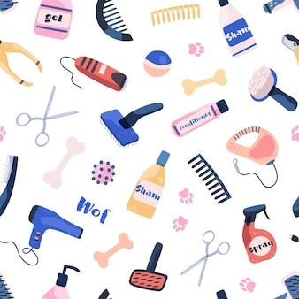 Pflegeausrüstung für nahtloses muster des haustierpflegesalons. verschiedene werkzeuge zum baden, waschen, schneiden, trocknen während der pflege von haustieren auf weißem hintergrund. verschiedene artikel für den mantel im hunde- und katzensalon.