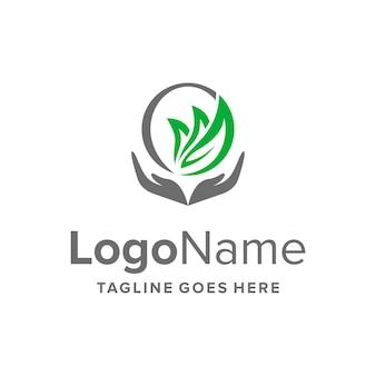 Pflegehand und blätter einfaches schlankes kreatives geometrisches modernes logo-design