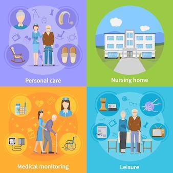 Pflegeheim-elemente und charaktere