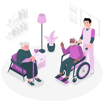 Pflegeheim-konzeptillustration
