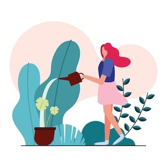Pflegepflanzen der jungen frau im gartenillustrationsdesign