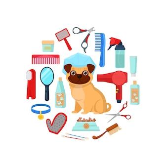 Pflegewerkzeuge und hund