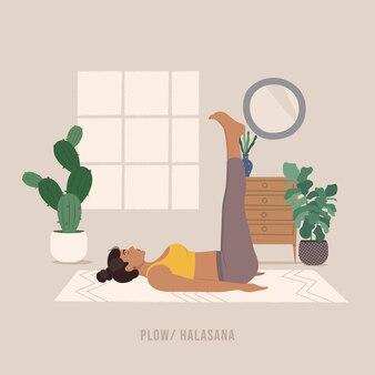 Pflug-pose junge frau, die yoga-pose praktiziert