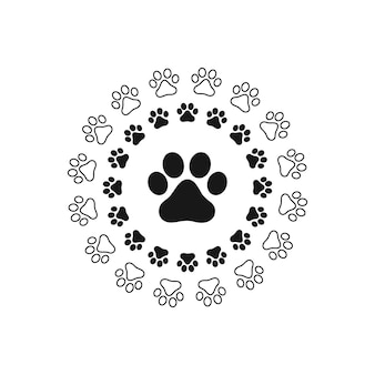 Pfotenabdruck katze, hund, welpenhaustierspur. isolierter silhouettenvektor.