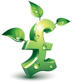 Pfund-symbol mit grünen blättern