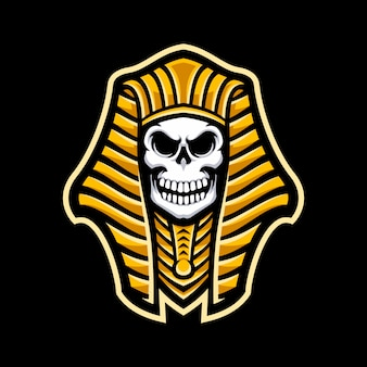 Pharao-schädelmaskottchen logo lokalisiert