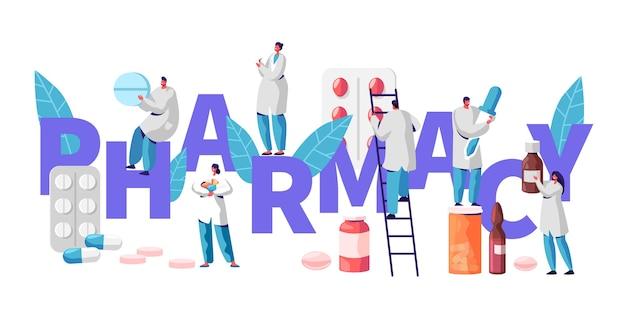 Pharmacy business drug store industry charakter typografie poster. apotheker heilen patienten. professionelles drogerieprodukt. gesundheitswesen online-industrie vitamin pille flache cartoon vektor-illustration