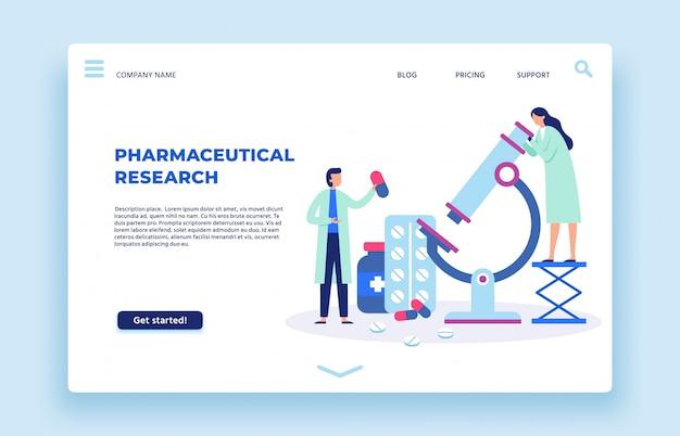Pharmazeutische forschung. wissenschaftlerlabor, pharmazeutiker und laborforscher landingpage illustration