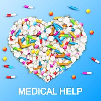 Pharmazeutische medizinische versorgungsschablone mit bunten kapselnpillenvitaminen in der herzform auf blau