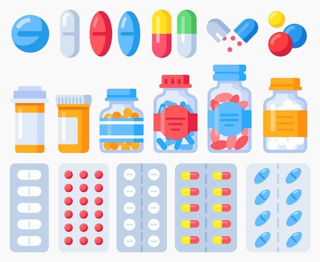 Pharmazeutische pillen, medizinflaschen und pillen in blisterpackungen. apothekenbehandlung, gesundheitspille, medikamentenvitamin und tablette, vektorillustration