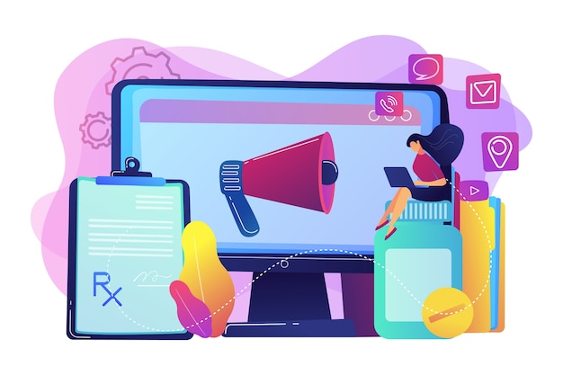 Pharmazeutischer vertreter mit laptop, der auf medizinglas sitzt. pharmazeutisches marketing, arzneimittelwerbung, medizinisches weiterbildungskonzept. helle lebendige violette isolierte illustration