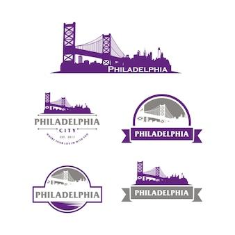 Philadelphia logo stadtbild und wahrzeichen silhouette vektor-illustration