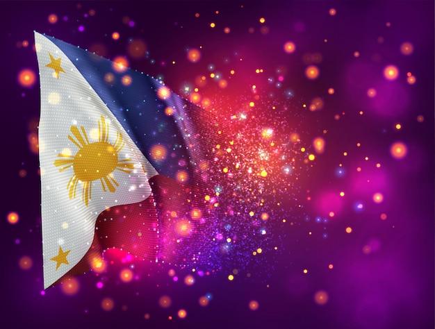 Philippinen, 3d-flagge auf rosa lila hintergrund mit beleuchtung und fackeln